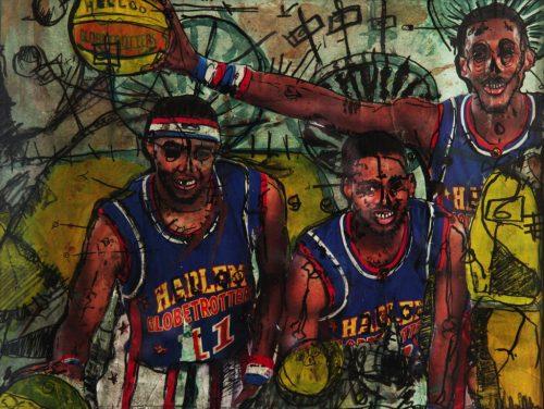 HostedByJL - Galerie d'art en ligne - Alec Malinofsky - Dessin 40x30 (Harlem globtrotters)