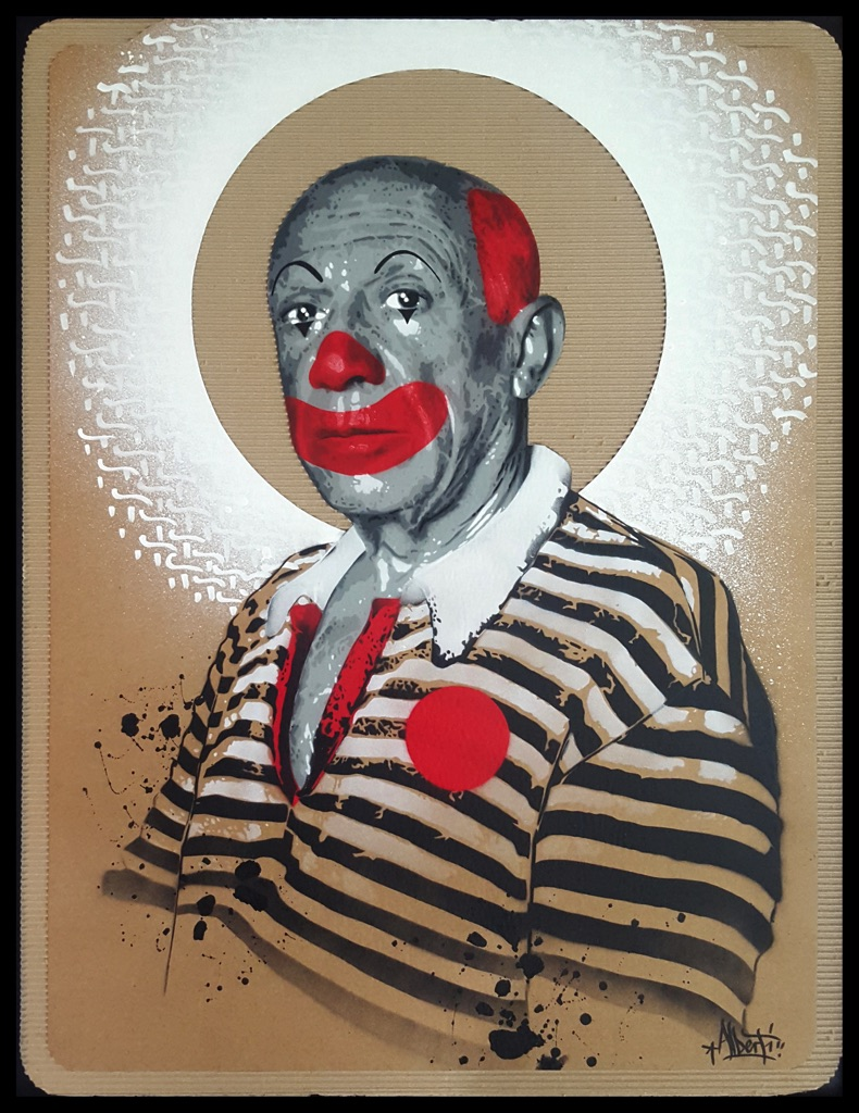 HostedByJL - Galerie d'art en ligne - Mr One teas - Pablo the clown (Pablo Picasso)