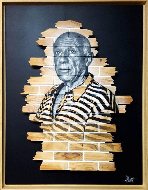 HostedByJL - Galerie d'art en ligne - Mr One teas - Pablo (Pablo Picasso) - grafitti sur bois