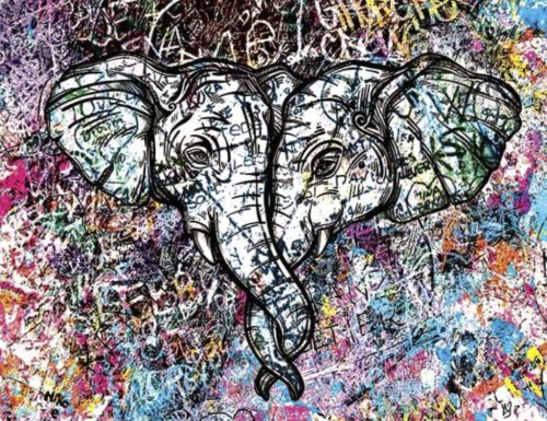 HostedByJL - Galerie d'art en ligne - Youns - Love Elephant